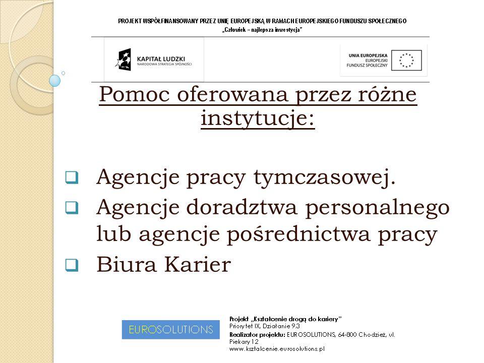  Urzędy Pracy (Powiatowe, Miejskie i Wojewódzkie)  Różnego typu instytucje i organizacje aktywnego wspierania poszukiwania zatrudnienia  KONTAKTY PRYWATNE