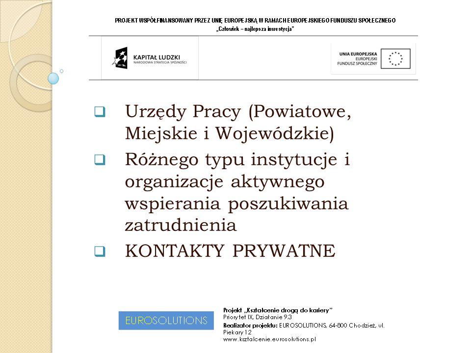  Urzędy Pracy (Powiatowe, Miejskie i Wojewódzkie)  Różnego typu instytucje i organizacje aktywnego wspierania poszukiwania zatrudnienia  KONTAKTY P