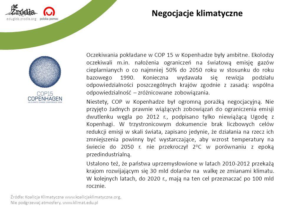 eduglob.zrodla.org Negocjacje klimatyczne Oczekiwania pokładane w COP 15 w Kopenhadze były ambitne. Ekolodzy oczekiwali m.in. nałożenia ograniczeń na