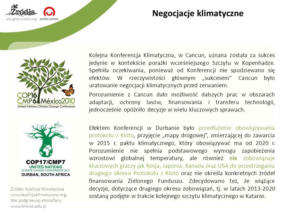 eduglob.zrodla.org Negocjacje klimatyczne Kolejna Konferencja Klimatyczna, w Cancun, uznana została za sukces jedynie w kontekście porażki wcześniejszego Szczytu w Kopenhadze.