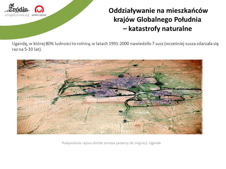 eduglob.zrodla.org Ugandę, w której 80% ludności to rolnicy, w latach 1991-2000 nawiedziło 7 susz (wcześniej susza zdarzała się raz na 5-10 lat).