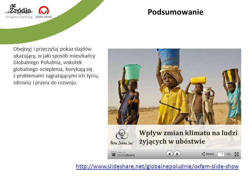 eduglob.zrodla.org Obejrzyj i przeczytaj pokaz slajdów ukazujący, w jaki sposób mieszkańcy Globalnego Południa, wskutek globalnego ocieplenia, borykaj
