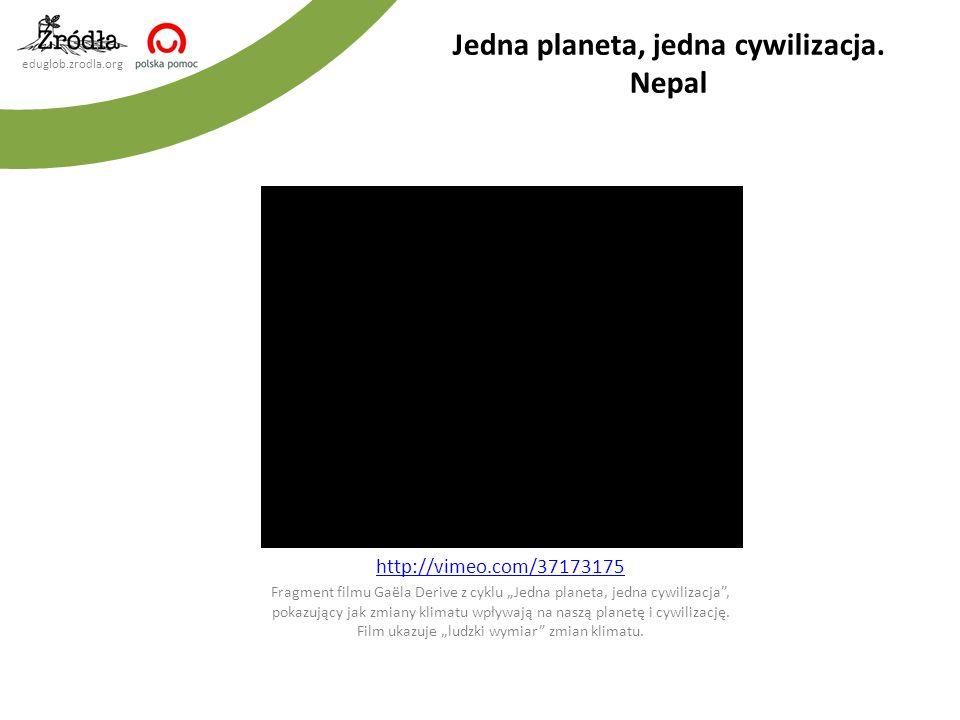 """eduglob.zrodla.org http://vimeo.com/37173175 Fragment filmu Gaëla Derive z cyklu """"Jedna planeta, jedna cywilizacja , pokazujący jak zmiany klimatu wpływają na naszą planetę i cywilizację."""