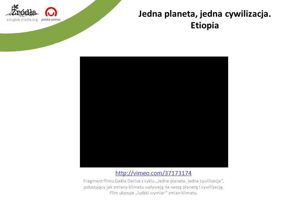 """eduglob.zrodla.org http://vimeo.com/37173174 Fragment filmu Gaëla Derive z cyklu """"Jedna planeta, jedna cywilizacja , pokazujący jak zmiany klimatu wpływają na naszą planetę i cywilizację."""