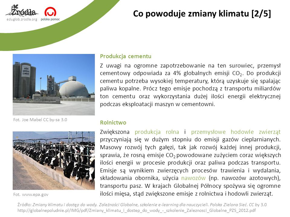 eduglob.zrodla.org Produkcja cementu Z uwagi na ogromne zapotrzebowanie na ten surowiec, przemysł cementowy odpowiada za 4% globalnych emisji CO 2. Do