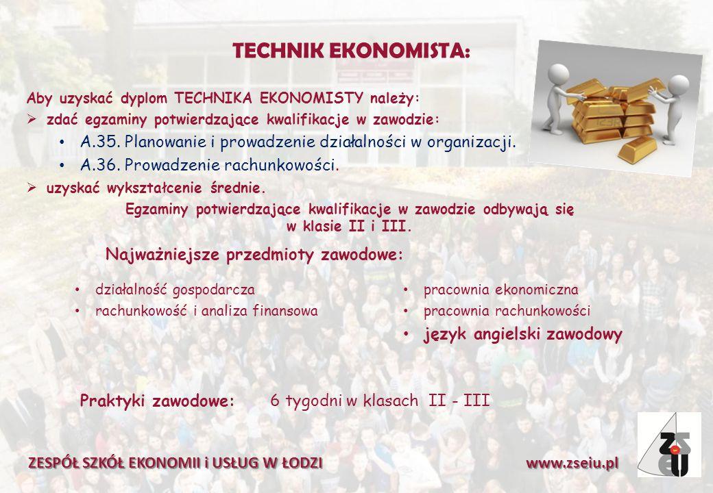TECHNIK EKONOMISTA: Aby uzyskać dyplom TECHNIKA EKONOMISTY należy:  zdać egzaminy potwierdzające kwalifikacje w zawodzie: A.35.