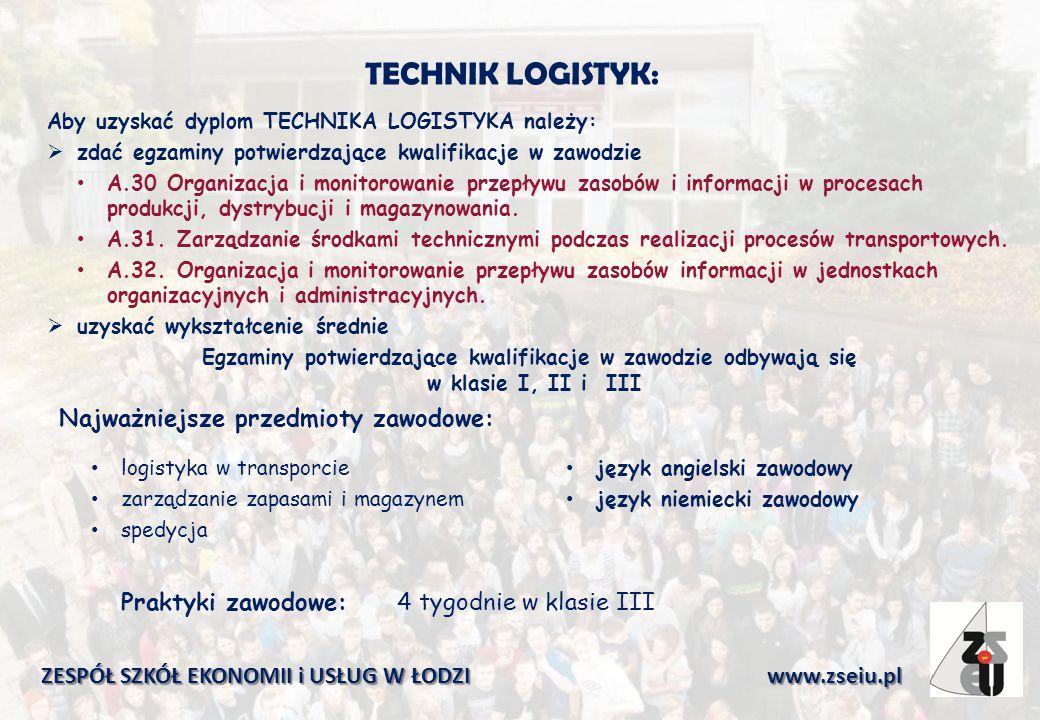 TECHNIK LOGISTYK: Aby uzyskać dyplom TECHNIKA LOGISTYKA należy:  zdać egzaminy potwierdzające kwalifikacje w zawodzie A.30 Organizacja i monitorowanie przepływu zasobów i informacji w procesach produkcji, dystrybucji i magazynowania.