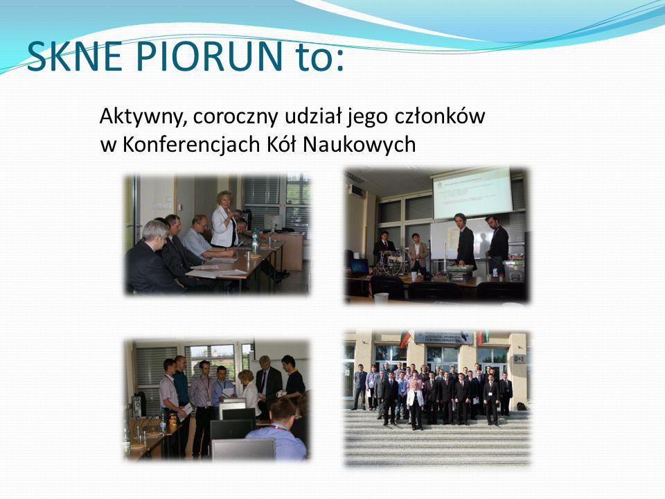 SKNE PIORUN to: Aktywny, coroczny udział jego członków w Konferencjach Kół Naukowych