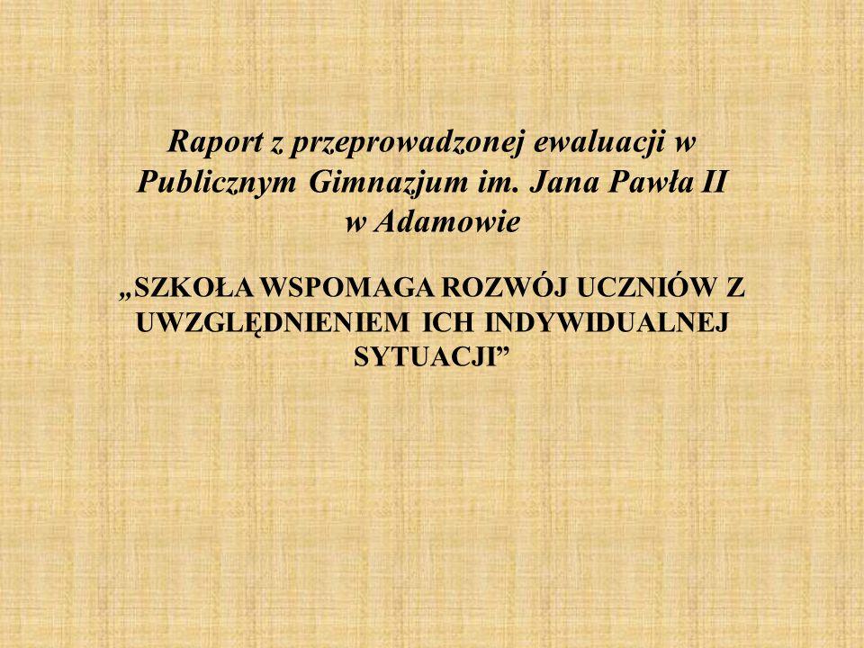 Raport z przeprowadzonej ewaluacji w Publicznym Gimnazjum im.