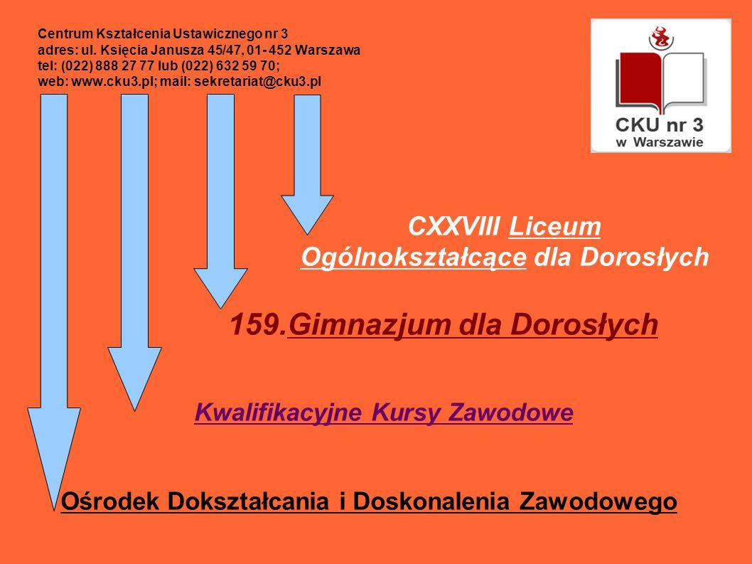 CXXVIII Liceum Ogólnokształcące dla Dorosłych 159.Gimnazjum dla Dorosłych Kwalifikacyjne Kursy Zawodowe Ośrodek Dokształcania i Doskonalenia Zawodowego Centrum Kształcenia Ustawicznego nr 3 adres: ul.
