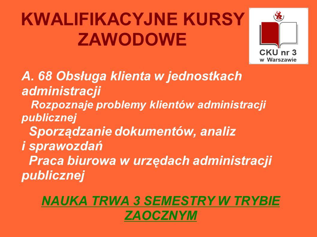 KWALIFIKACYJNE KURSY ZAWODOWE A.