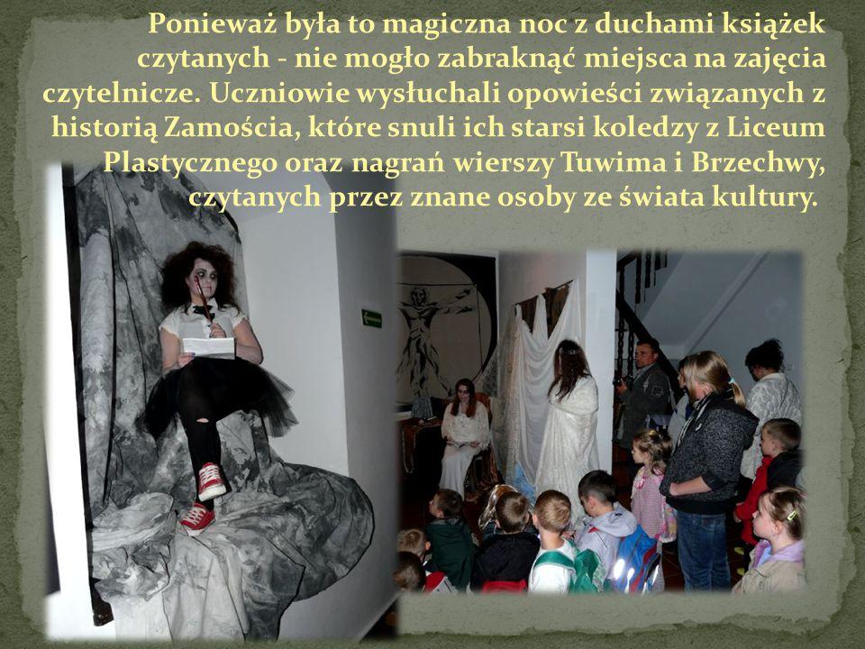 Ponieważ była to magiczna noc z duchami książek czytanych - nie mogło zabraknąć miejsca na zajęcia czytelnicze.