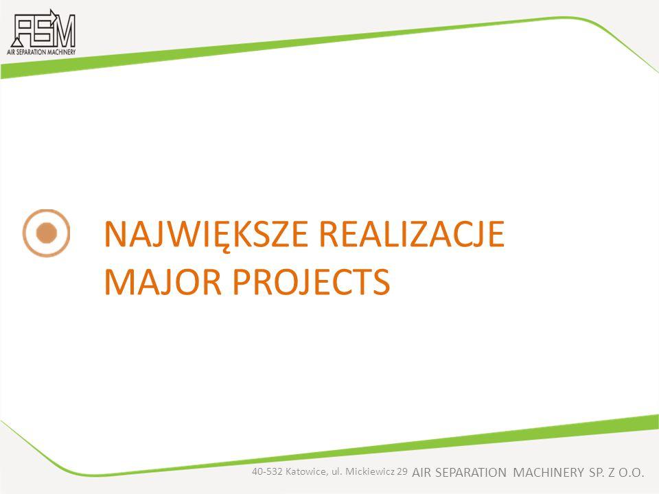 AIR SEPARATION MACHINERY SP. Z O.O. NAJWIĘKSZE REALIZACJE MAJOR PROJECTS 40-532 Katowice, ul. Mickiewicz 29
