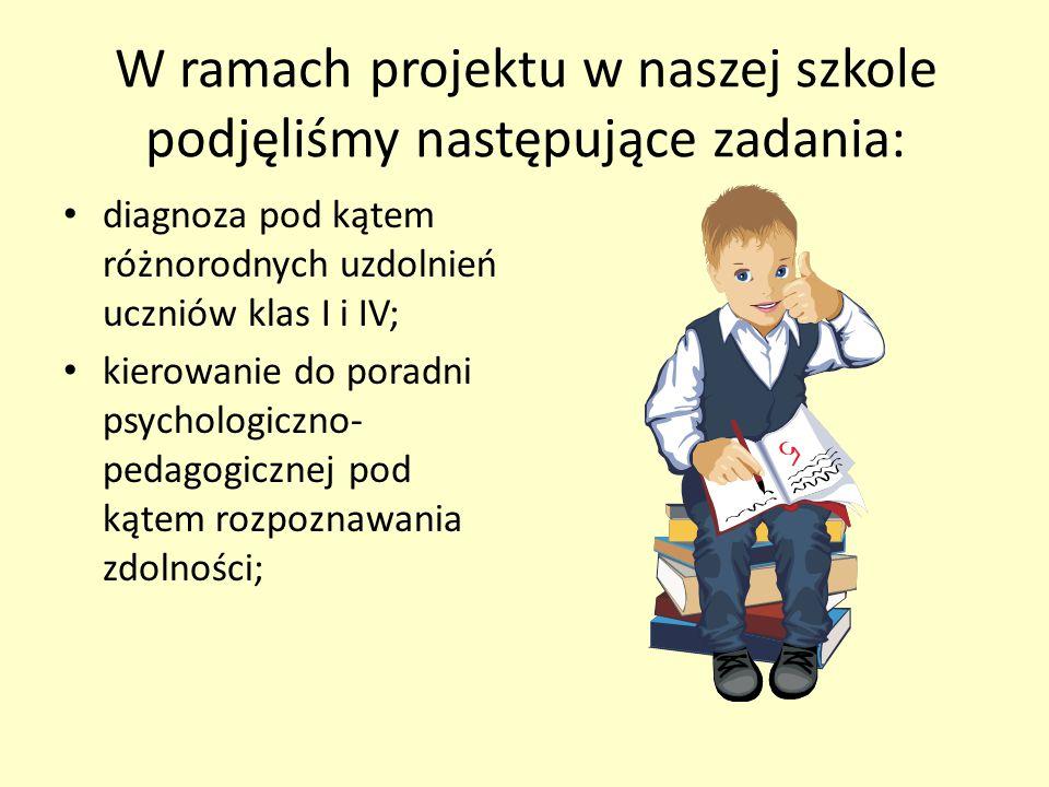 W ramach projektu w naszej szkole podjęliśmy następujące zadania: diagnoza pod kątem różnorodnych uzdolnień uczniów klas I i IV; kierowanie do poradni