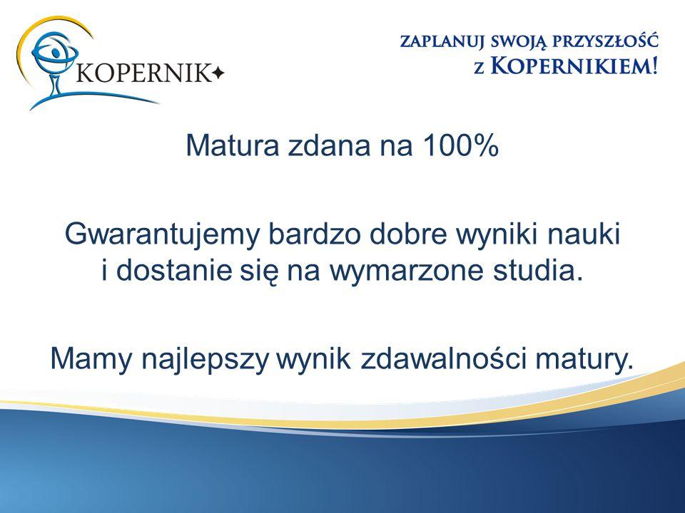 Matura zdana na 100% Gwarantujemy bardzo dobre wyniki nauki i dostanie się na wymarzone studia. Mamy najlepszy wynik zdawalności matury.