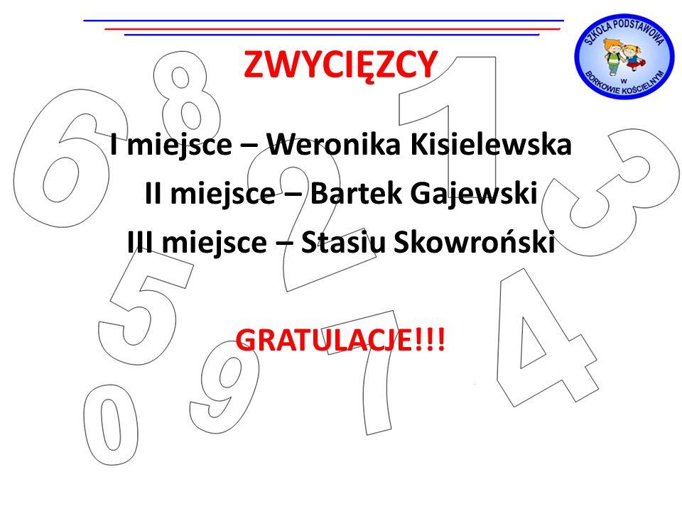 ZWYCIĘZCY I miejsce – Weronika Kisielewska II miejsce – Bartek Gajewski III miejsce – Stasiu Skowroński GRATULACJE!!!
