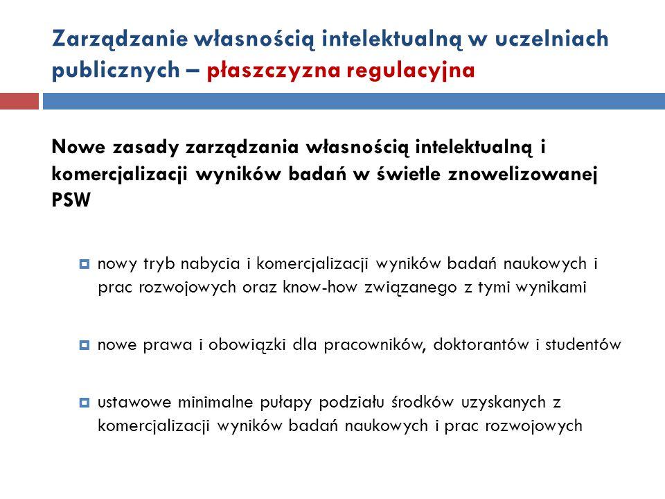 Zarządzanie własnością intelektualną w uczelniach publicznych – płaszczyzna regulacyjna Nowe zasady zarządzania własnością intelektualną i komercjaliz