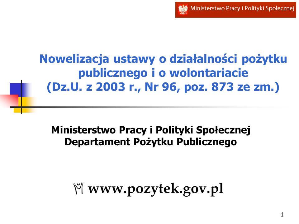 Nowelizacja ustawy o działalności pożytku publicznego i o wolontariacie (Dz.U. z 2003 r., Nr 96, poz. 873 ze zm.) Ministerstwo Pracy i Polityki Społec