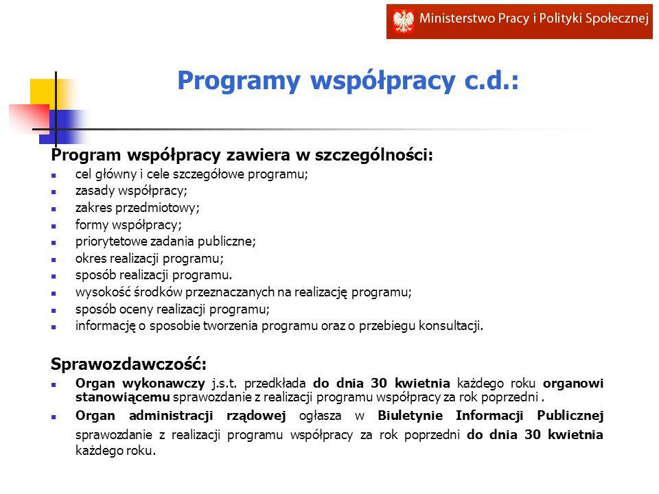 Program współpracy zawiera w szczególności: cel główny i cele szczegółowe programu; zasady współpracy; zakres przedmiotowy; formy współpracy; priorytetowe zadania publiczne; okres realizacji programu; sposób realizacji programu.