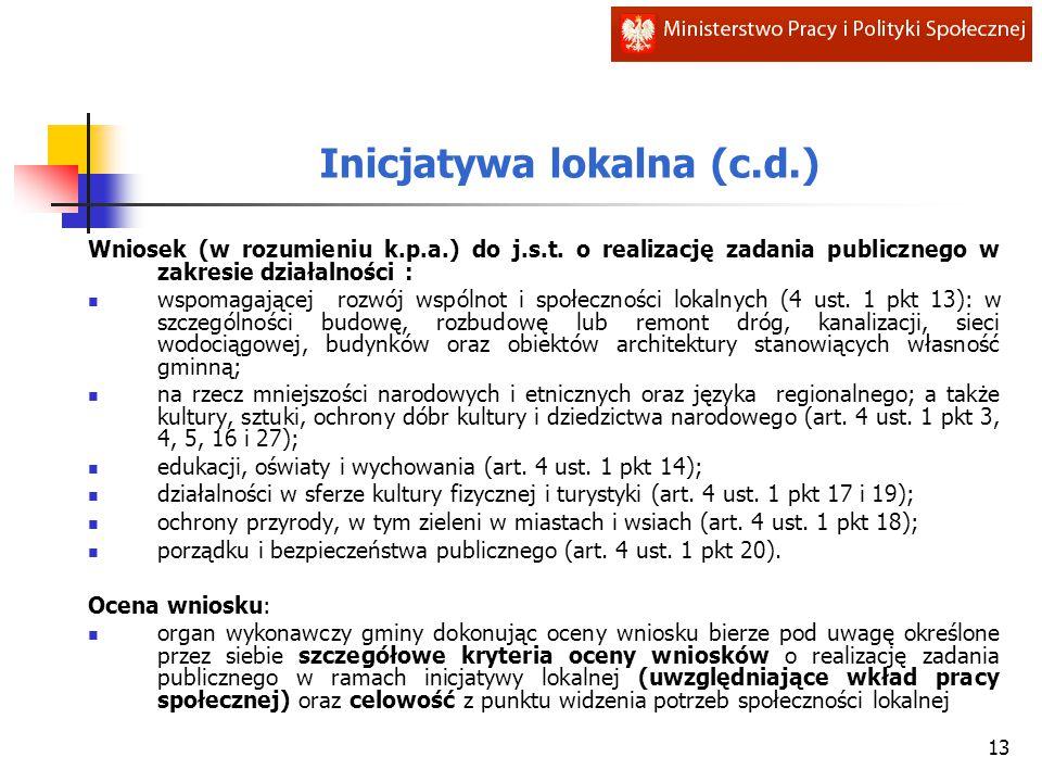 Inicjatywa lokalna (c.d.) Wniosek (w rozumieniu k.p.a.) do j.s.t. o realizację zadania publicznego w zakresie działalności : wspomagającej rozwój wspó