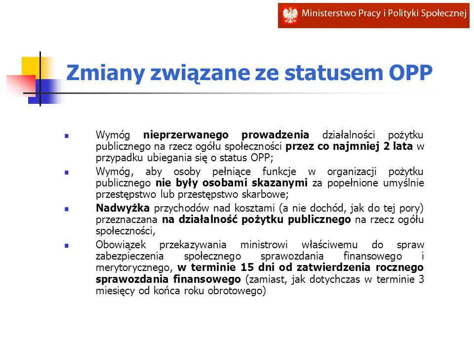 Zmiany związane ze statusem OPP Wymóg nieprzerwanego prowadzenia działalności pożytku publicznego na rzecz ogółu społeczności przez co najmniej 2 lata