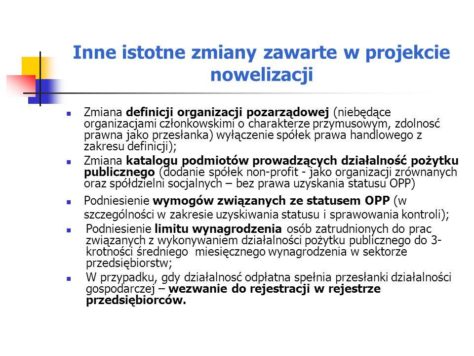 Inne istotne zmiany zawarte w projekcie nowelizacji Zmiana definicji organizacji pozarządowej (niebędące organizacjami członkowskimi o charakterze przymusowym, zdolnosć prawna jako przesłanka) wyłączenie spółek prawa handlowego z zakresu definicji); Zmiana katalogu podmiotów prowadzących działalność pożytku publicznego (dodanie spółek non-profit - jako organizacji zrównanych oraz spółdzielni socjalnych – bez prawa uzyskania statusu OPP) Podniesienie wymogów związanych ze statusem OPP (w szczególności w zakresie uzyskiwania statusu i sprawowania kontroli); Podniesienie limitu wynagrodzenia osób zatrudnionych do prac związanych z wykonywaniem działalności pożytku publicznego do 3- krotności średniego miesięcznego wynagrodzenia w sektorze przedsiębiorstw; W przypadku, gdy działalnosć odpłatna spełnia przesłanki działalności gospodarczej – wezwanie do rejestracji w rejestrze przedsiębiorców.