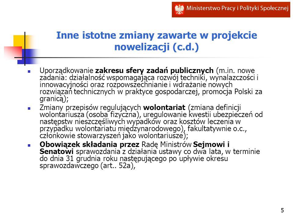 Inne istotne zmiany zawarte w projekcie nowelizacji (c.d.) Uporządkowanie zakresu sfery zadań publicznych (m.in. nowe zadania: działalność wspomagając