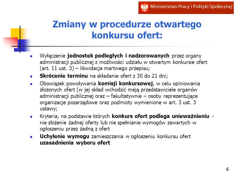Zmiany w procedurze otwartego konkursu ofert: Wyłączenie jednostek podległych i nadzorowanych przez organy administracji publicznej z możliwości udziału w otwartym konkursie ofert (art.