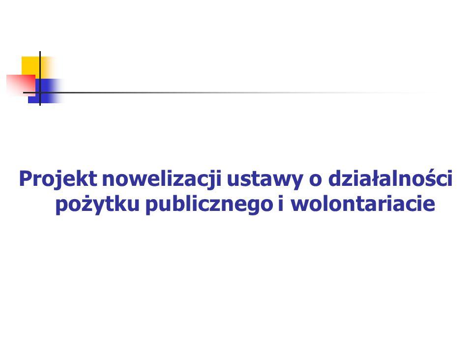 Nowelizacja ustawy o działalności pożytku publicznego i wolontariacie Możliwości tworzenia programów współpracy także przez organy administracji rządowej.