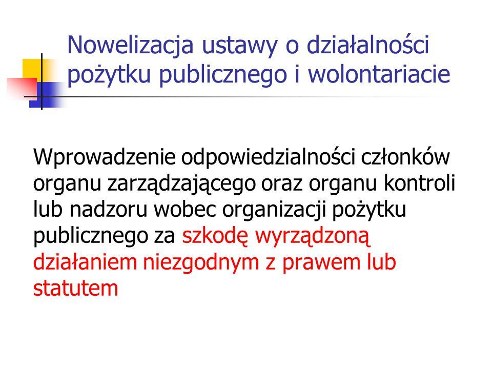 Nowelizacja ustawy o działalności pożytku publicznego i wolontariacie Wprowadzenie odpowiedzialności członków organu zarządzającego oraz organu kontro