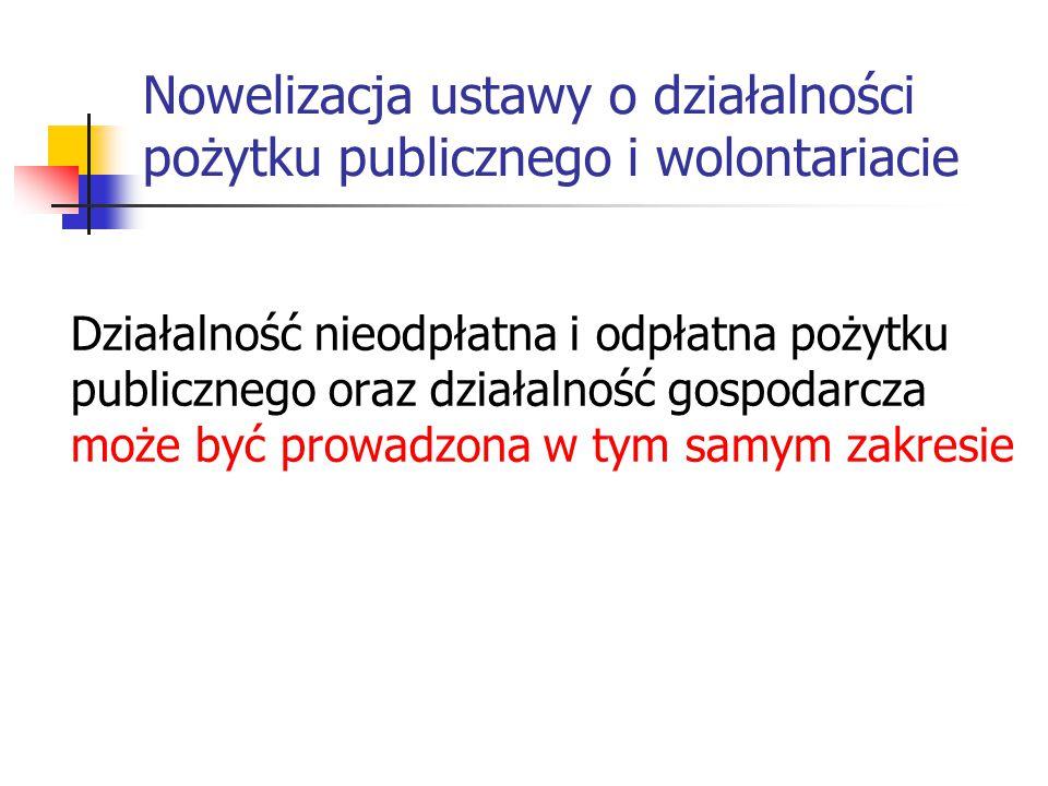Nowelizacja ustawy o działalności pożytku publicznego i wolontariacie Działalność nieodpłatna i odpłatna pożytku publicznego oraz działalność gospodar