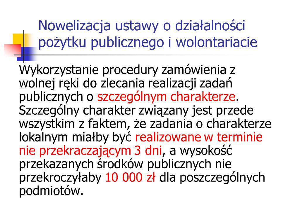 Nowelizacja ustawy o działalności pożytku publicznego i wolontariacie Wykorzystanie procedury zamówienia z wolnej ręki do zlecania realizacji zadań pu