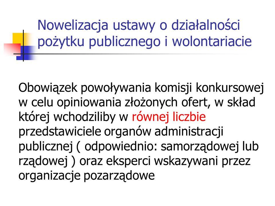 Nowelizacja ustawy o działalności pożytku publicznego i wolontariacie Obowiązek powoływania komisji konkursowej w celu opiniowania złożonych ofert, w