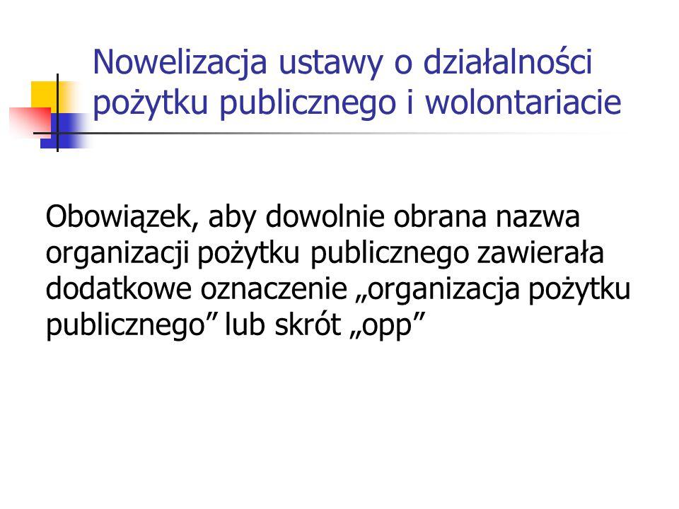 Nowelizacja ustawy o działalności pożytku publicznego i wolontariacie Obowiązek, aby dowolnie obrana nazwa organizacji pożytku publicznego zawierała d
