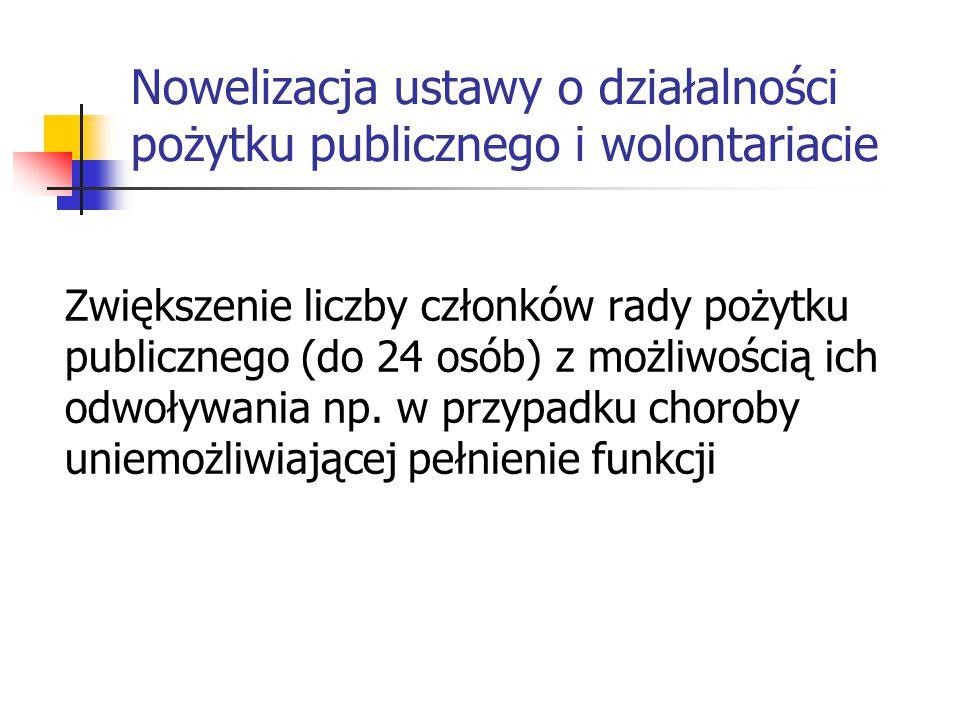 Nowelizacja ustawy o działalności pożytku publicznego i wolontariacie Zwiększenie liczby członków rady pożytku publicznego (do 24 osób) z możliwością