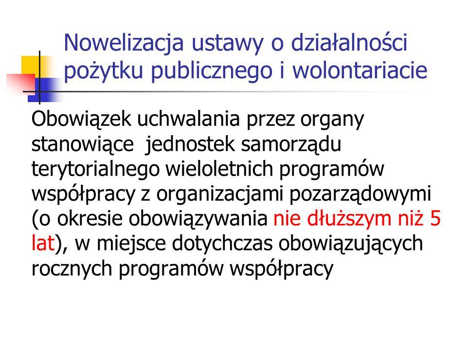 Nowelizacja ustawy o działalności pożytku publicznego i wolontariacie Nadanie obowiązkowego charakteru formom współpracy (administracja – organizacje pozarządowe) pozostawiając jednocześnie otwartym katalog tej współpracy.