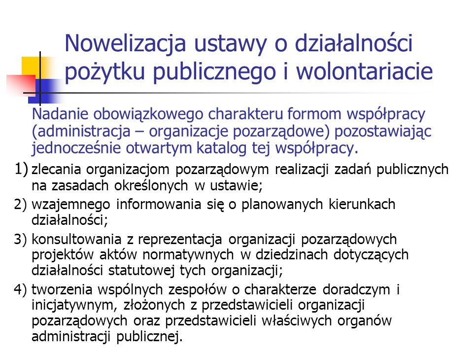 Nowelizacja ustawy o działalności pożytku publicznego i wolontariacie Nadanie obowiązkowego charakteru formom współpracy (administracja – organizacje