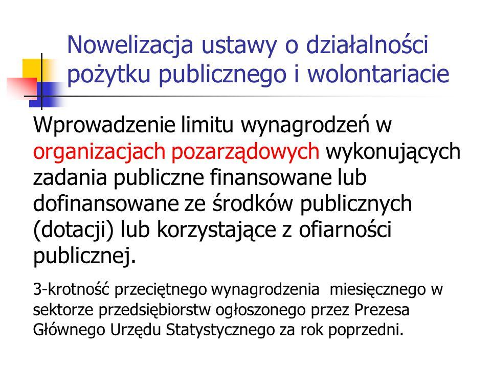 Nowelizacja ustawy o działalności pożytku publicznego i wolontariacie Wprowadzenie limitu wynagrodzeń w organizacjach pozarządowych wykonujących zadan