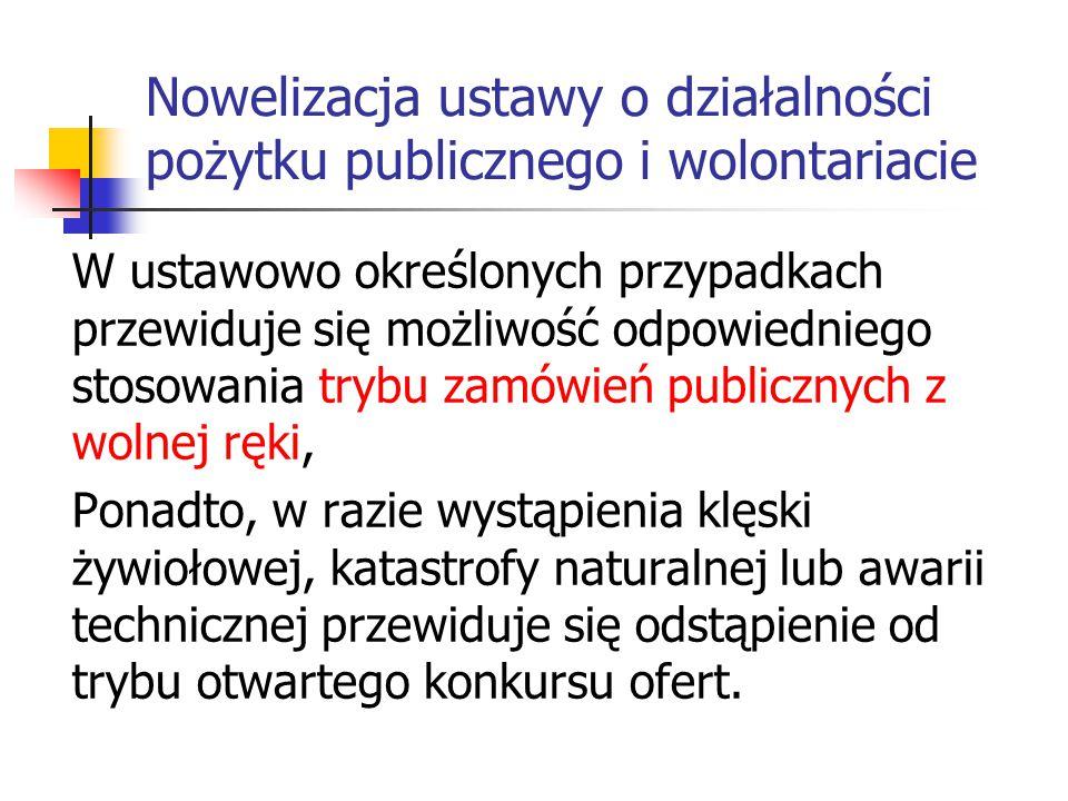 Nowelizacja ustawy o działalności pożytku publicznego i wolontariacie W ustawowo określonych przypadkach przewiduje się możliwość odpowiedniego stosow