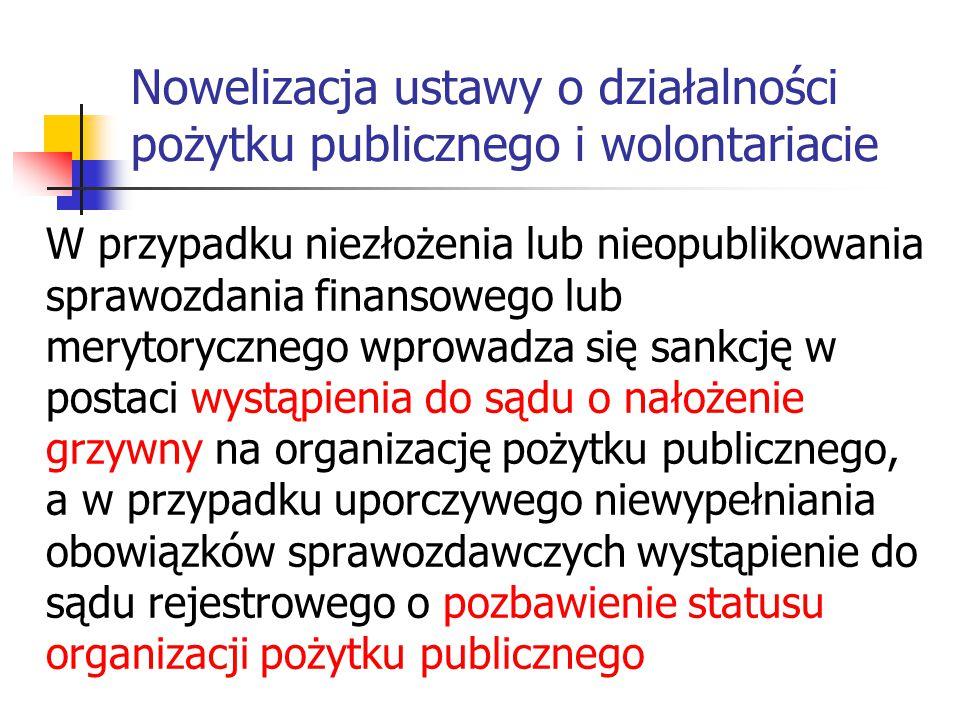 Nowelizacja ustawy o działalności pożytku publicznego i wolontariacie W przypadku niezłożenia lub nieopublikowania sprawozdania finansowego lub meryto