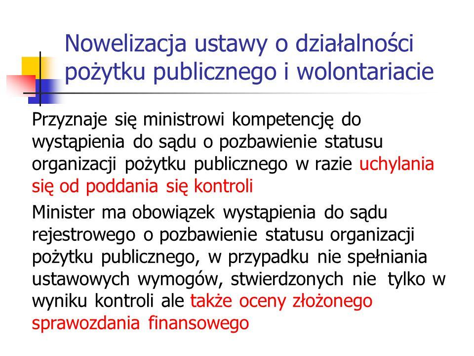 Nowelizacja ustawy o działalności pożytku publicznego i wolontariacie Przyznaje się ministrowi kompetencję do wystąpienia do sądu o pozbawienie status