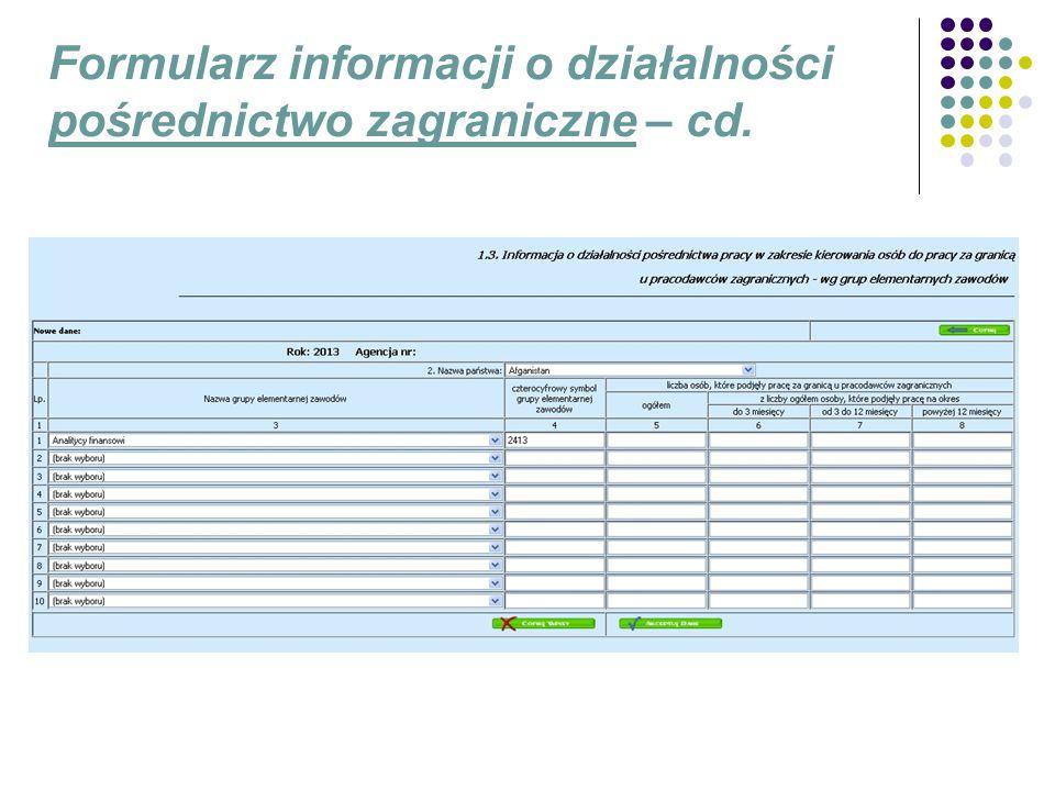 Formularz informacji o działalności pośrednictwo zagraniczne – cd.