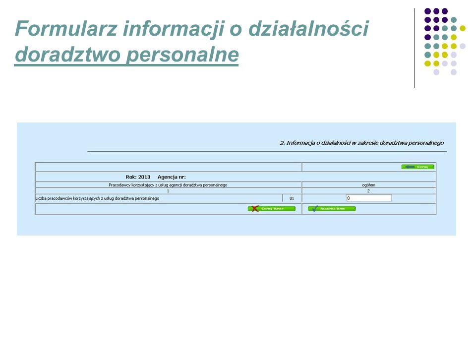 Formularz informacji o działalności doradztwo personalne