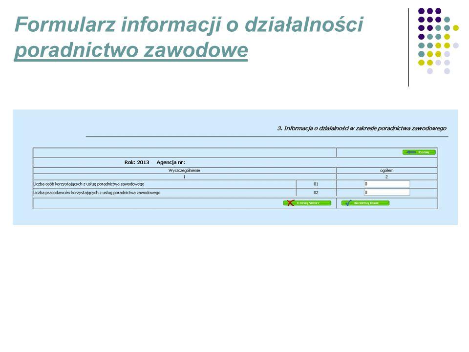Formularz informacji o działalności poradnictwo zawodowe