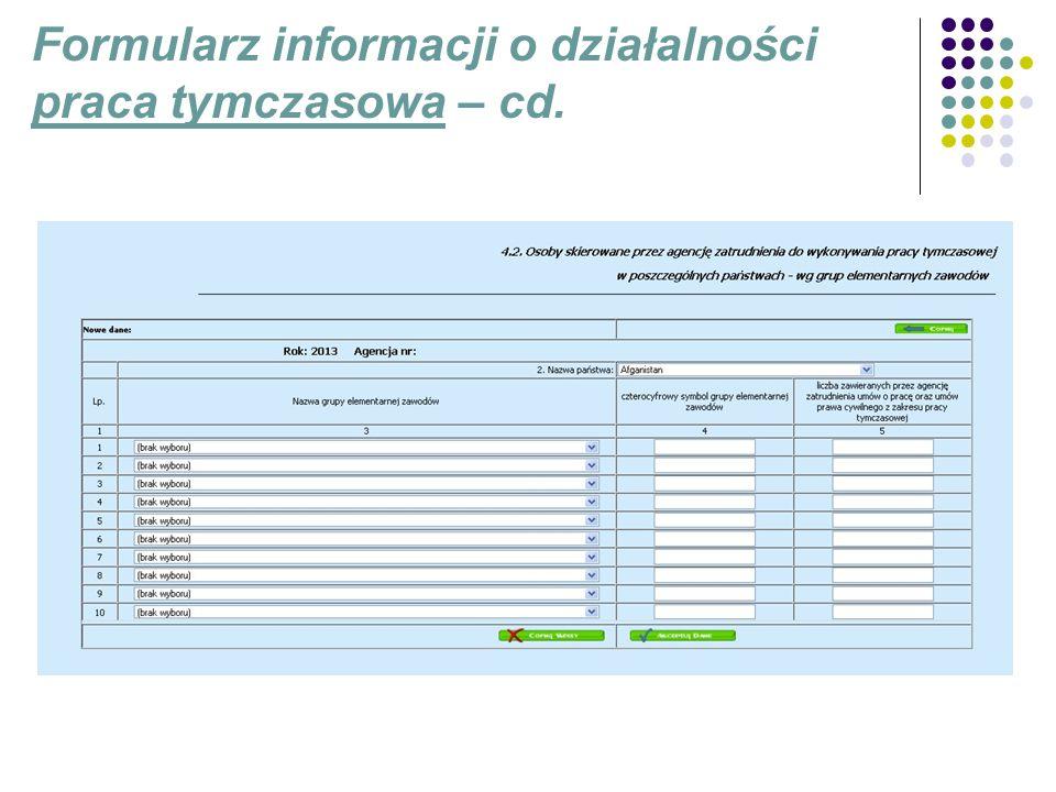 Formularz informacji o działalności praca tymczasowa – cd.