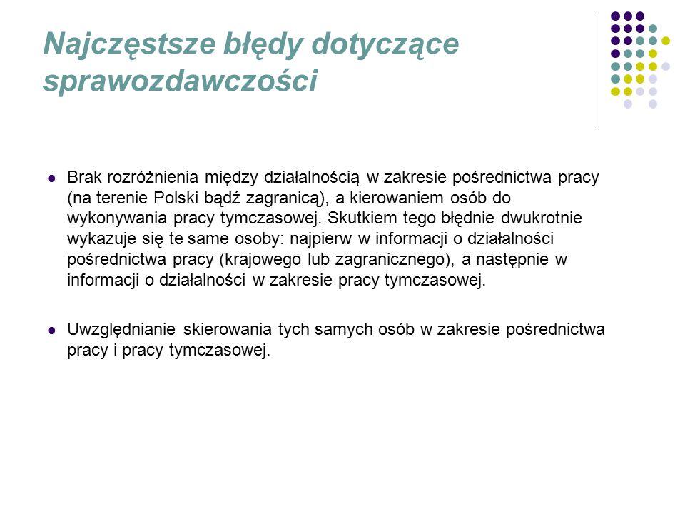 Najczęstsze błędy dotyczące sprawozdawczości Brak rozróżnienia między działalnością w zakresie pośrednictwa pracy (na terenie Polski bądź zagranicą), a kierowaniem osób do wykonywania pracy tymczasowej.