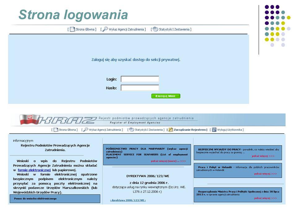 Przeglądanie własnych danych, zmiana hasła dostępu do systemu Wprowadzanie, edytowanie, przeglądanie sprawozdań Menu Zarządzanie rejestrem