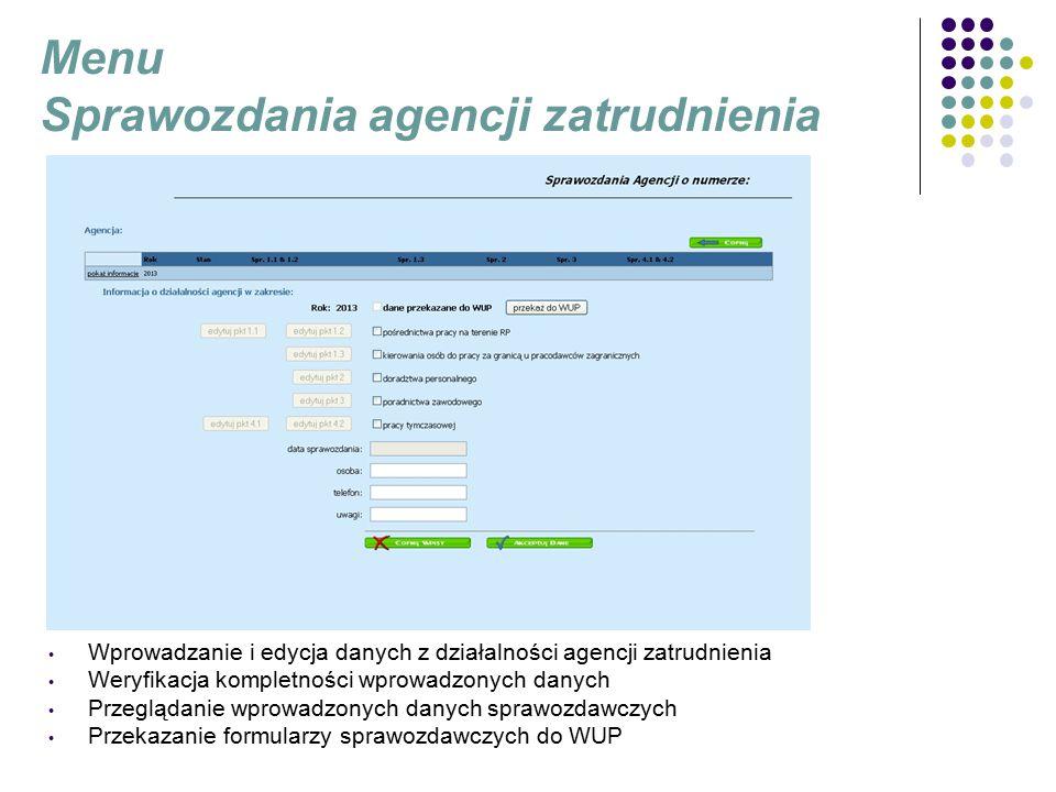 Menu Sprawozdania agencji zatrudnienia Wprowadzanie i edycja danych z działalności agencji zatrudnienia Weryfikacja kompletności wprowadzonych danych Przeglądanie wprowadzonych danych sprawozdawczych Przekazanie formularzy sprawozdawczych do WUP
