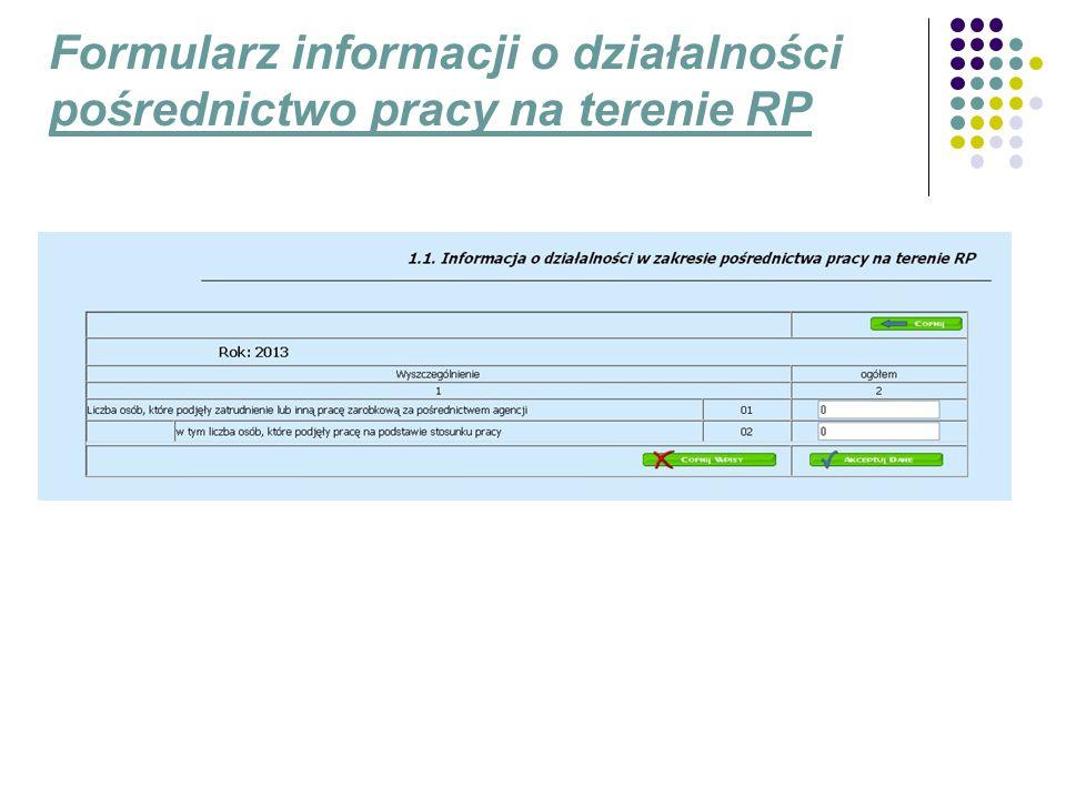 Formularz informacji o działalności pośrednictwo pracy na terenie RP