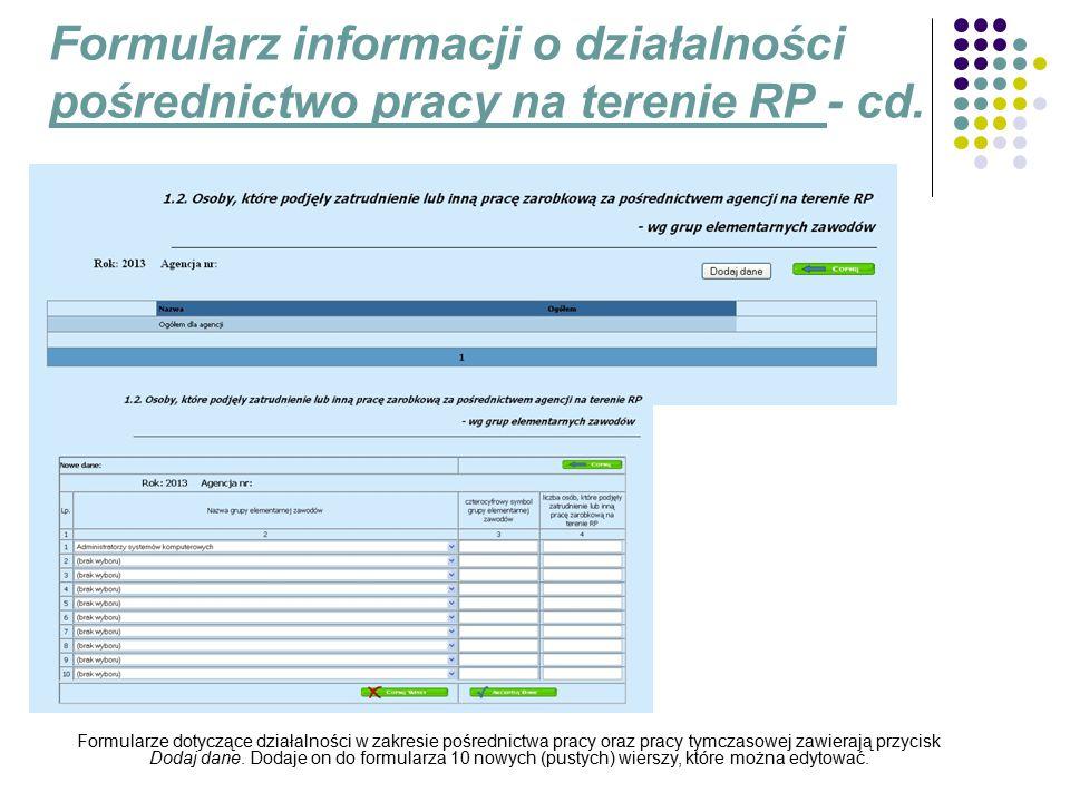 Formularz informacji o działalności pośrednictwo pracy na terenie RP - cd.